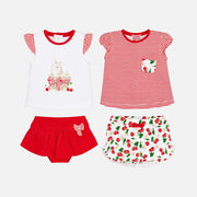 Girls Mayoral 4 Piece Red & White Shorts Set