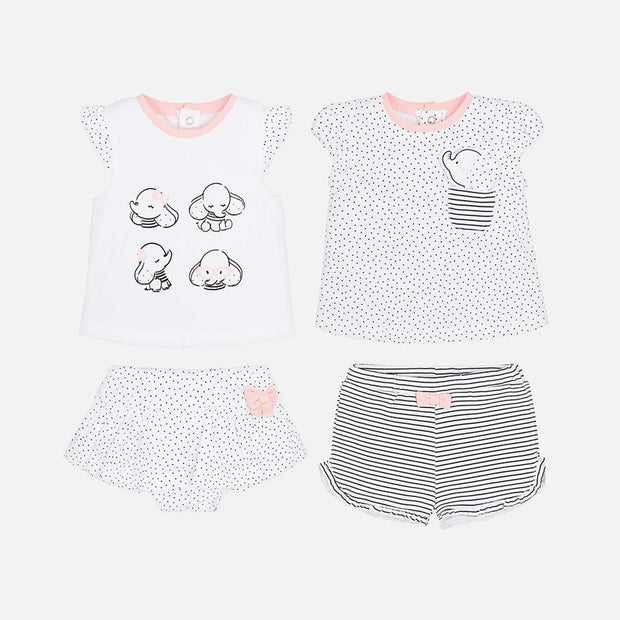 Girls Mayoral Elephant 4 Piece Shorts Set