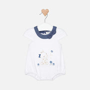 Girls Mayoral White Giraffe Frill Short Romper
