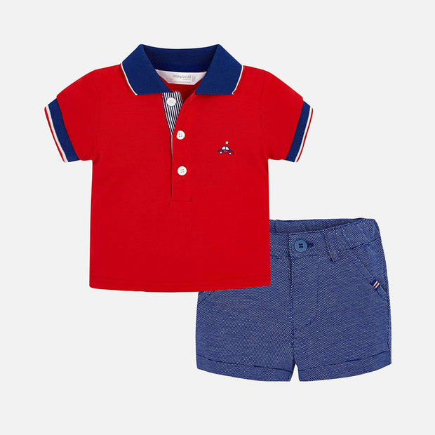 Boys Mayoral Red & Blue Shorts Set