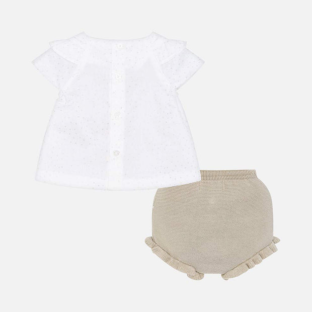 Girls Mayoral White Blouse & Gold Knitted Bloomers