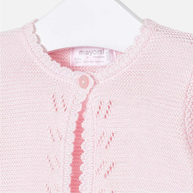 Girls Mayoral Baby Pink Knit Cardigan