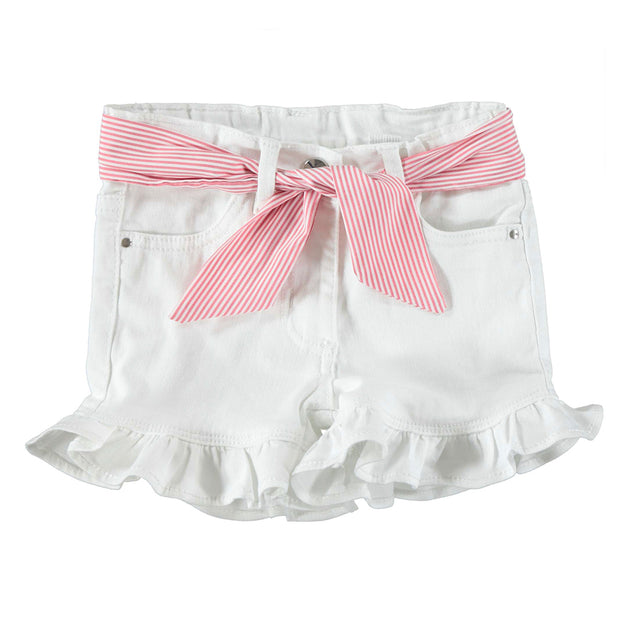 Girls iDo Red & White Cold Shoulder Shorts Set