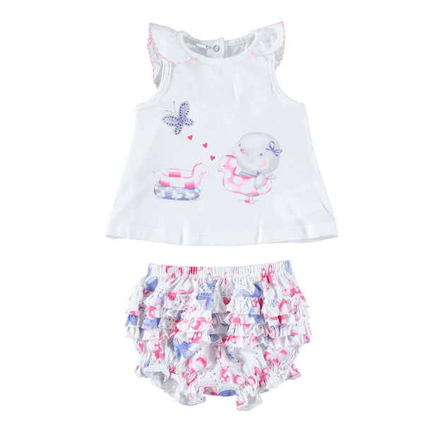 Girls iDo Butterfly Vest Top & Bloomers Set