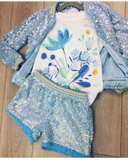 Girls Eirene 3 Piece Swarovski Crystal Embellished Blue Sequin Bomber, T-shirt and Shorts Set