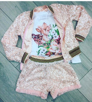 Girls Eirene 3 Piece Sequin Bomber, T-shirt & Short
