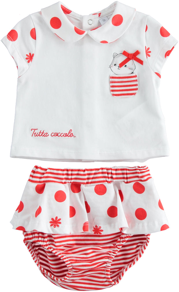 Girls Baby iDo Red Bloomers Set