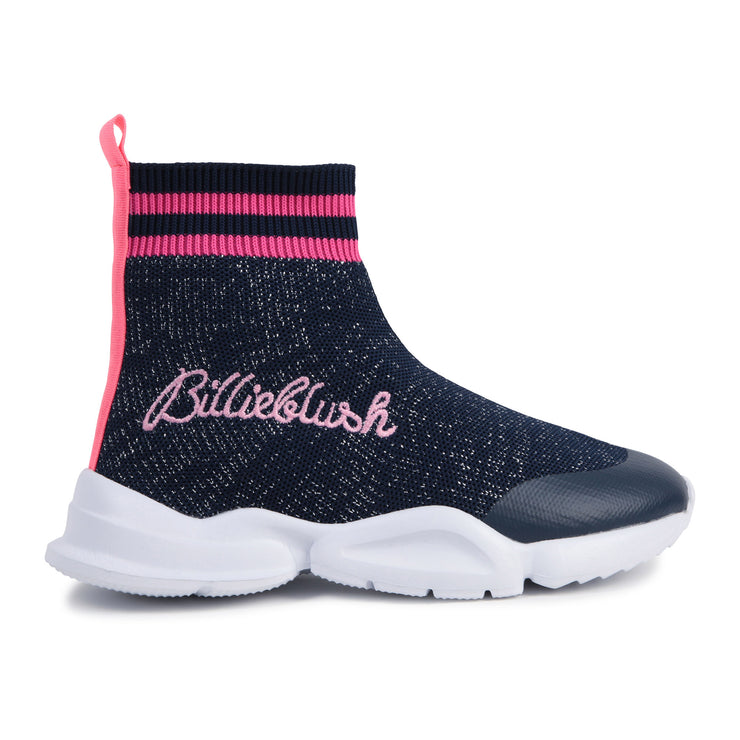 Billieblush Navy Glitter Sock Trainers