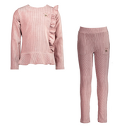 Le Chic Pink Ribbed Legging Set