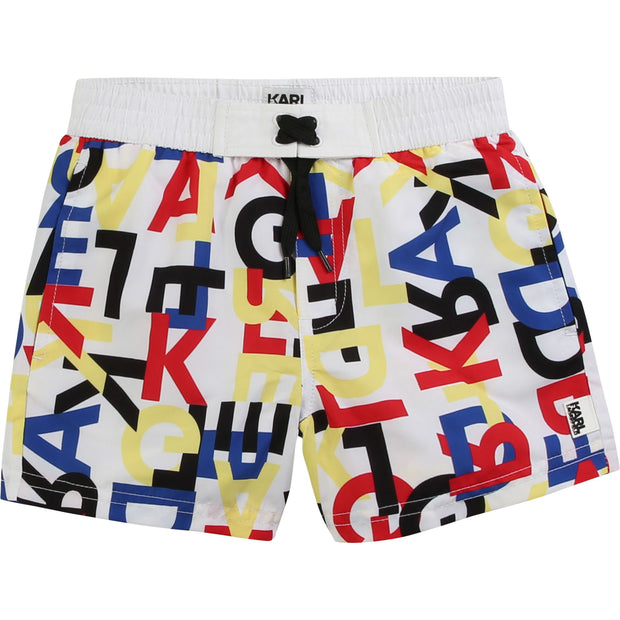 Karl Lagerfeld Kids White & Colourful Logo Print Swim Shorts