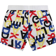 Karl Lagerfeld Kids White & Colourful Logo Print Swim Shorts Reverse