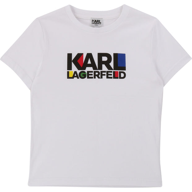 Karl Lagerfeld Kids White Colourful Logo T-Shirt
