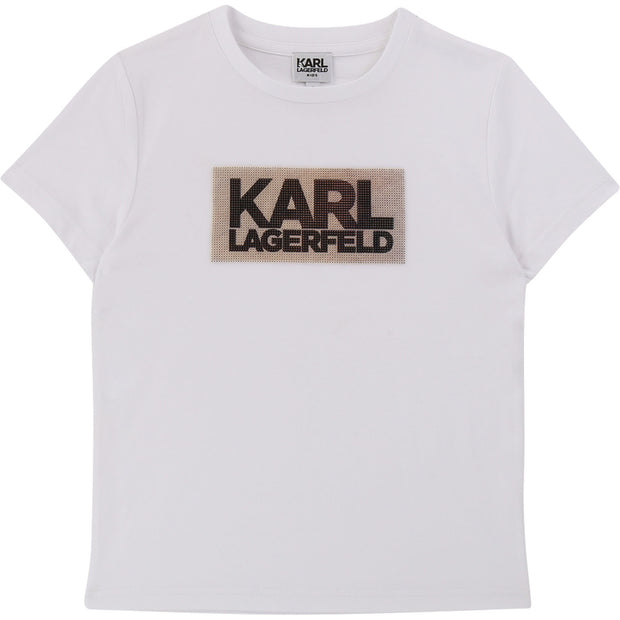 Karl Lagerfeld Kids White T-Shirt with Rubber Logo