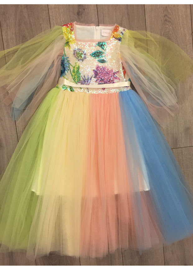 Girls Eirene Fairy Princess Rainbow Pastel Sequin Tulle Dress
