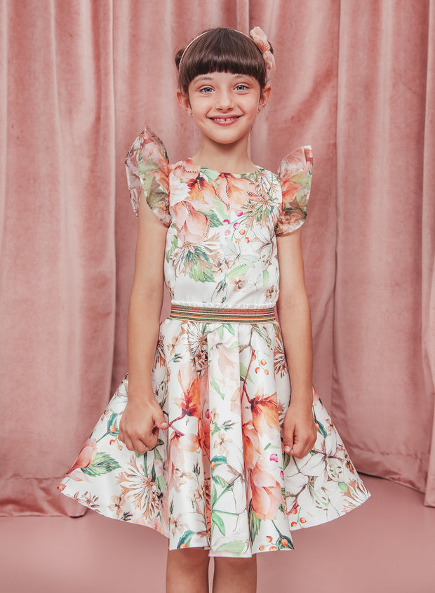 Girls Eirene Swarovski Crystal Embellished Floral Skirt Set