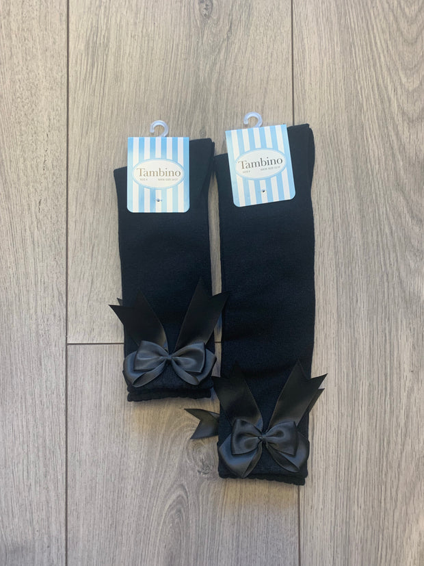Girls Tambino Black Bow Socks