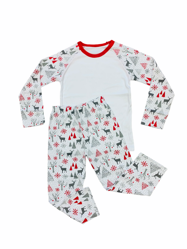 Christmas Pyjamas white, grey & red