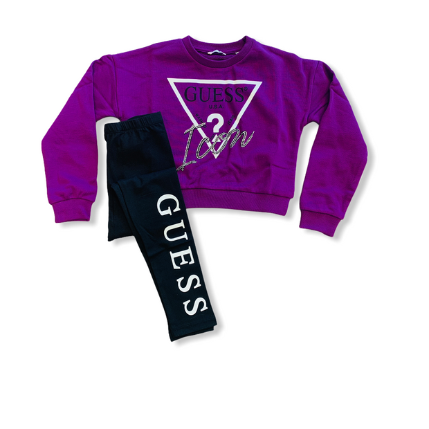 Guess Purple & Black Icon Legging Set