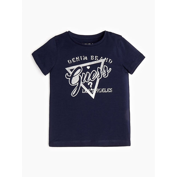Girls Guess Navy & Silver Logo T-shirt