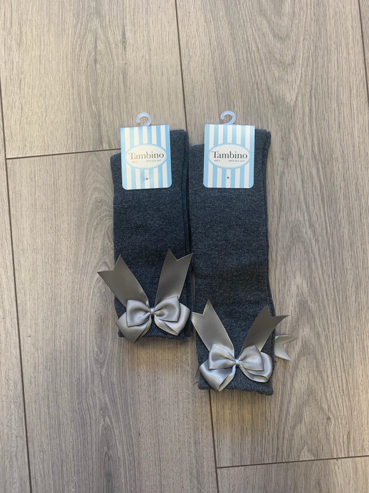 Girls Tambino School Grey Bow Socks