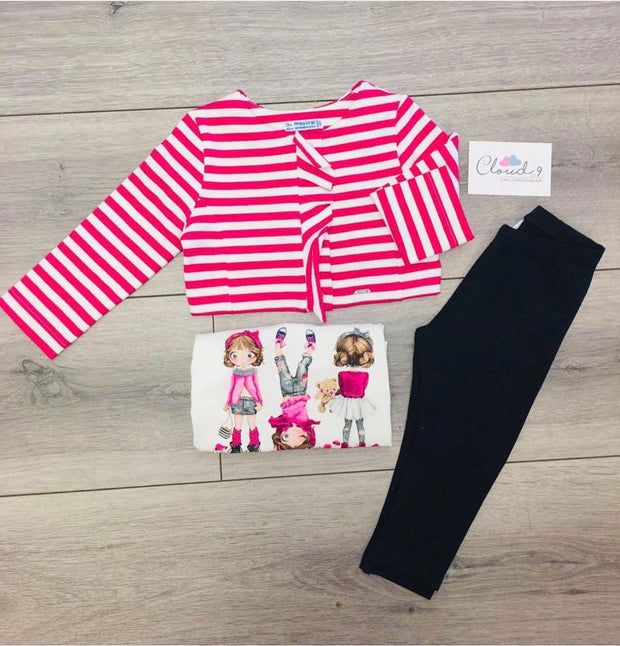 Girls Mayoral Pink & Grey Legging Set