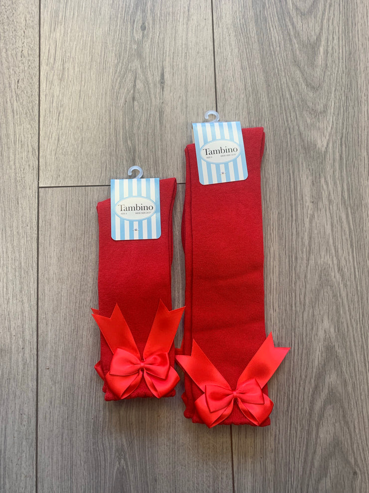 Girls Tambino Red Bow Socks