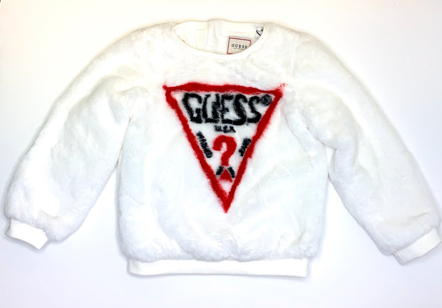 Girls Guess White Fluffy Logo Sweatshirt