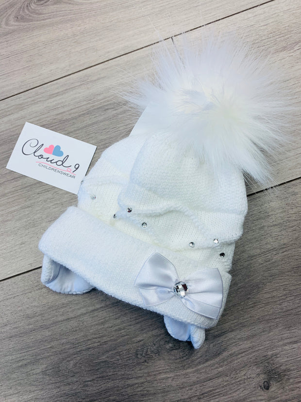 Girls White Ballerina Baby Hat