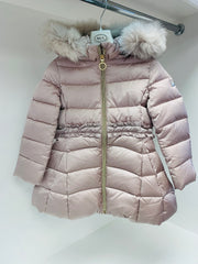 Girls Baby A Champagne Coat with Fur Hood
