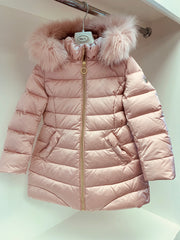 Girls Baby A Soft Pink Coat with Fur Hood