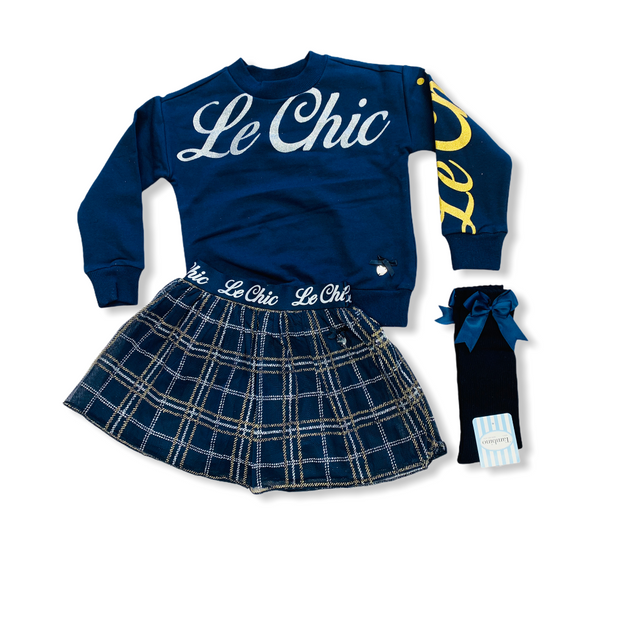 Le Chic Navy Skirt Set