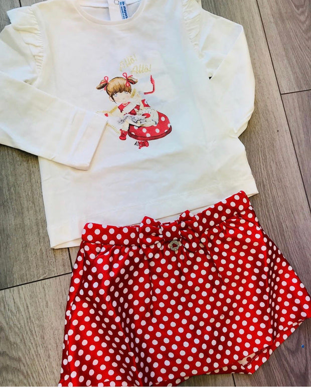 Girls Mayoral Red Spot Shorts Set