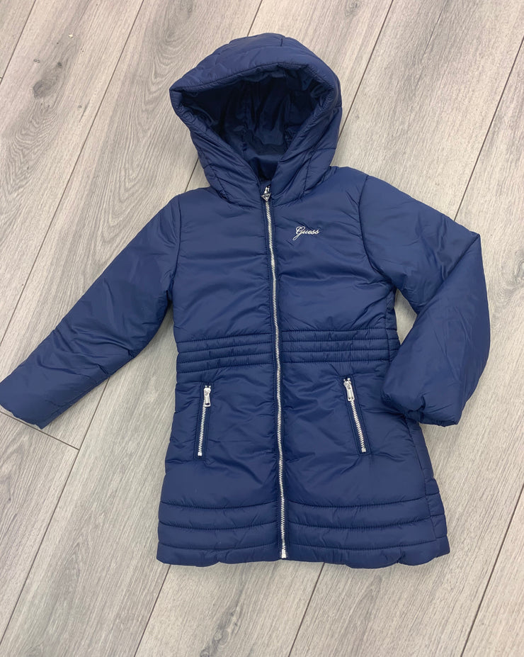Girls Guess Mini Navy Long Coat