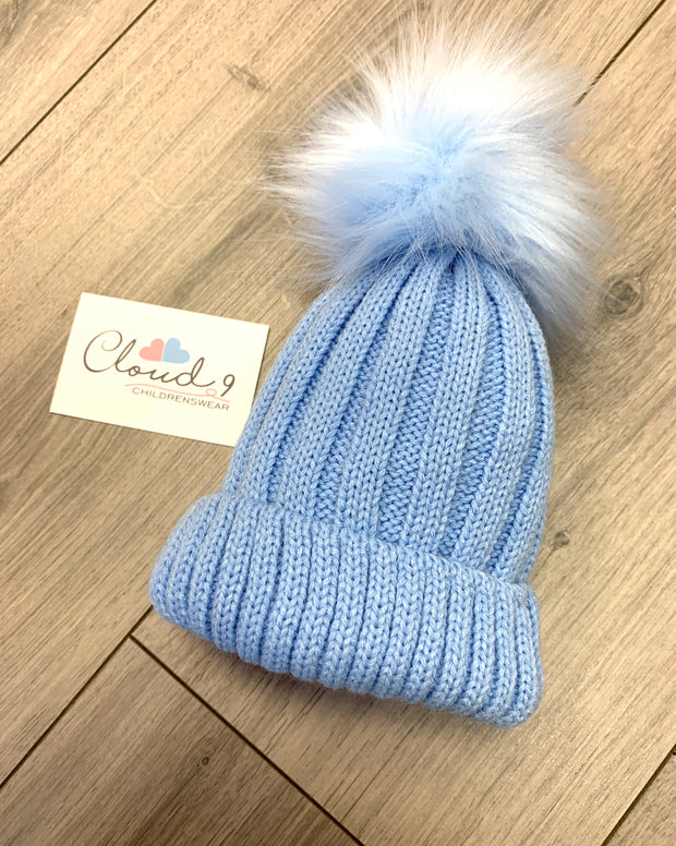 Boys Baby Blue Faux Fur Pom Pom Baby Hat