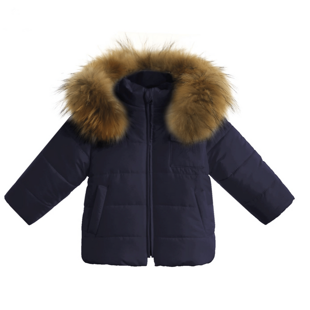Gastone Navy Fur Hooded Coat