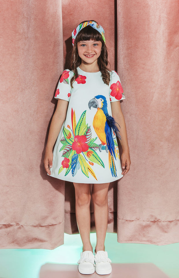 Girls Eirene Swarovski Crystal & Feather Embellished Tropical Parrot Dress