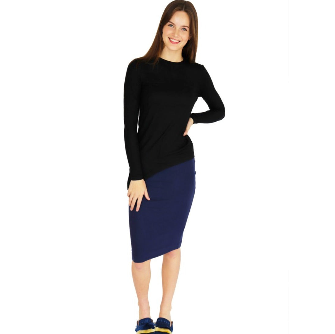 Blue Ribbed Pencil Skirt