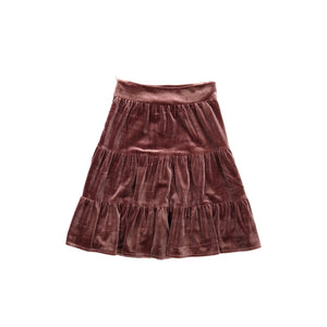 Velvet tiered skirt mauve
