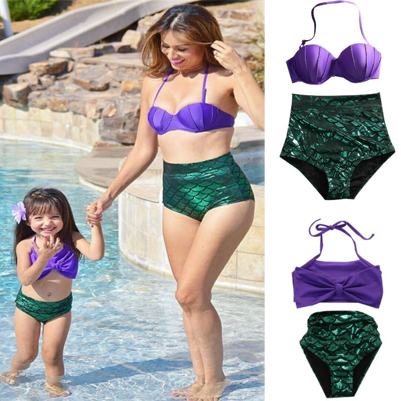 65944f4f3a4a1 Load image into Gallery viewer, Mommy and Me Mermaid Two Piece Swimsuit ...