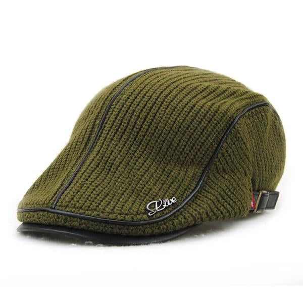 b50db579e4d Men Women Wool Knitting Beret Caps Newsboy Buckle Adjustable Casual Outdoors  Peaked Hat - JackModa
