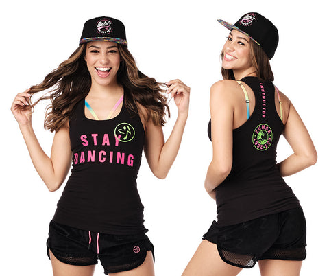 XS LEFT - Stay Dancing Zumba INSTRUCTOR Racerback