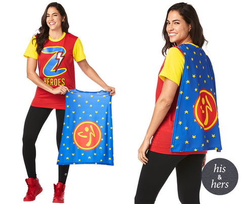 Zumba Heroes Costume Tee With Removable Cape