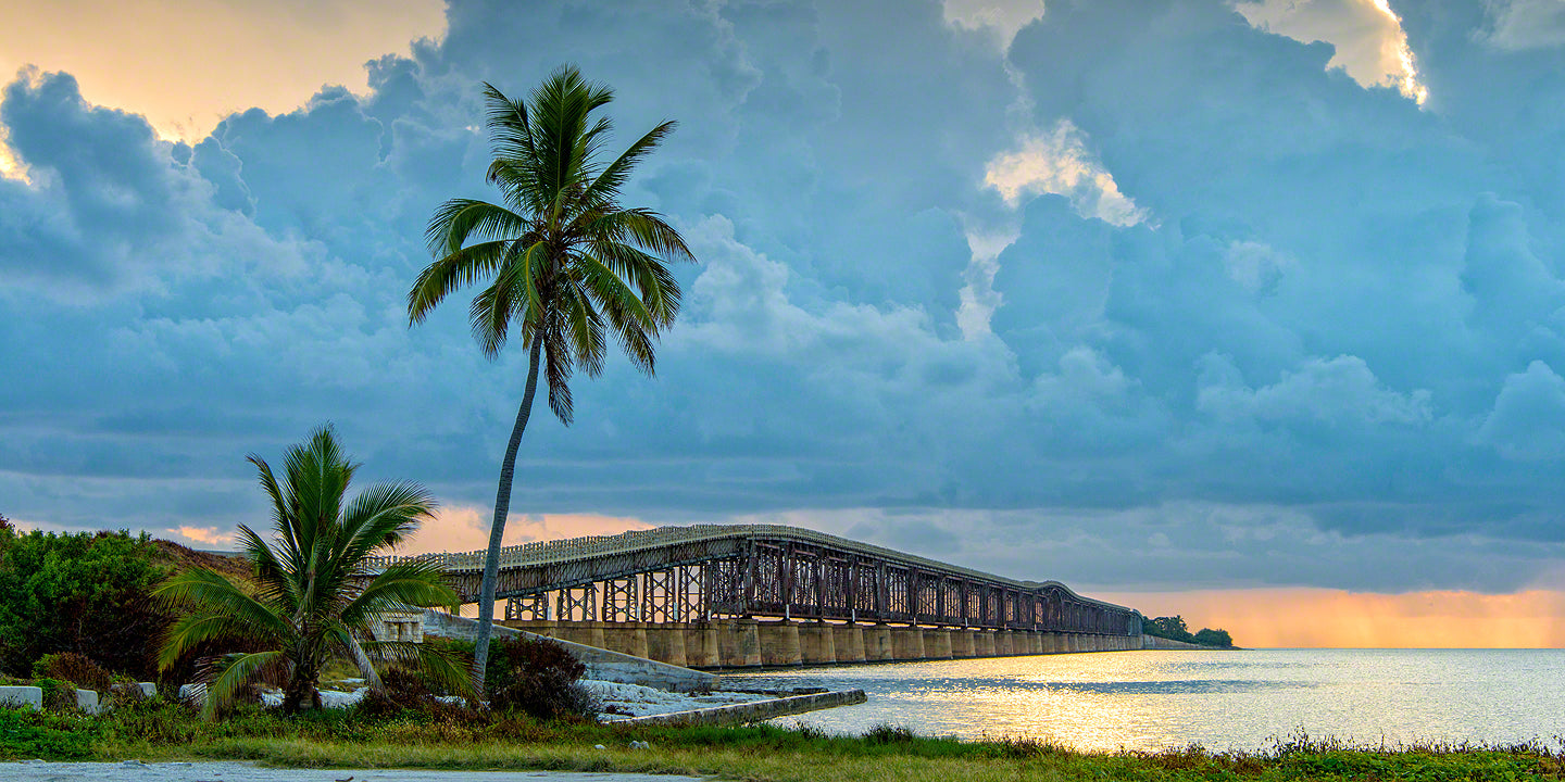 A photo of the rail road bridge that Henry Flagler built in the Florida Keys