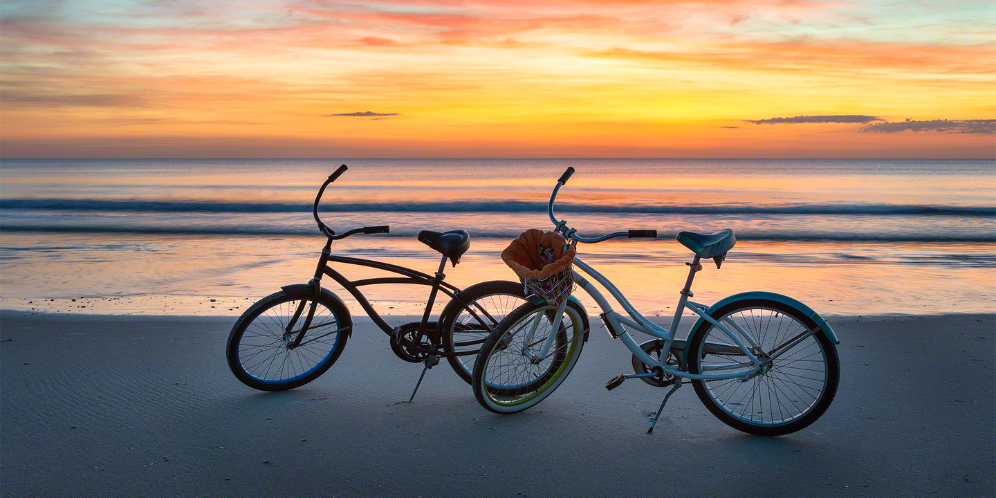 A photo of bikes at sunrise on New Smyrna Beach