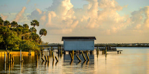 A photo of an old boat house in the Mosquito Lagoon