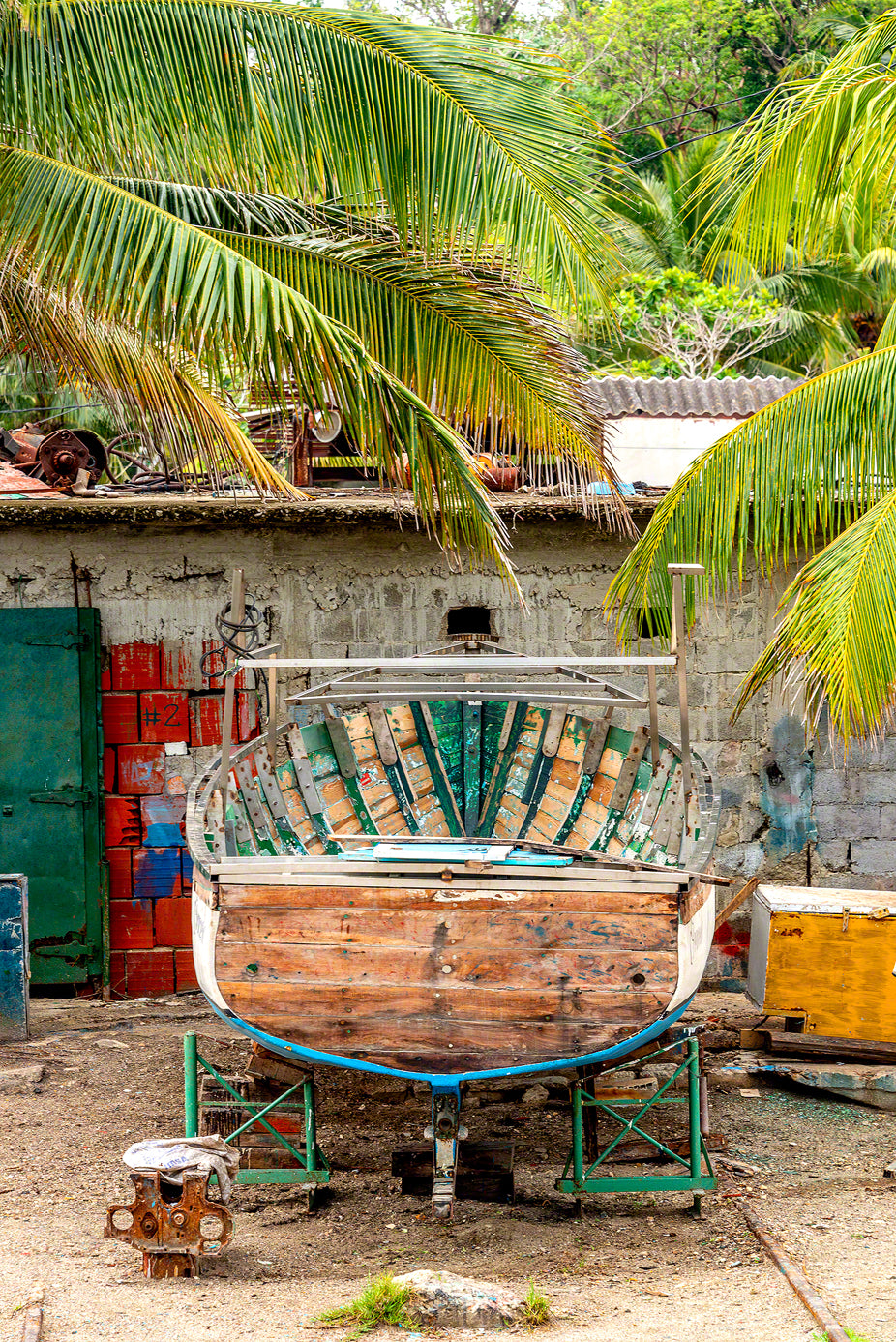 A photo of a rustic boat in a boat yard in Cojimar, Cuba