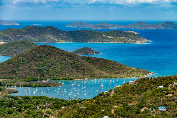 A birds eye view photo of beautiful Coral Bay on St. John Island, U.S. Virgin Islands