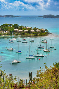A birds eye view photo of Cruz Bay on St John Island