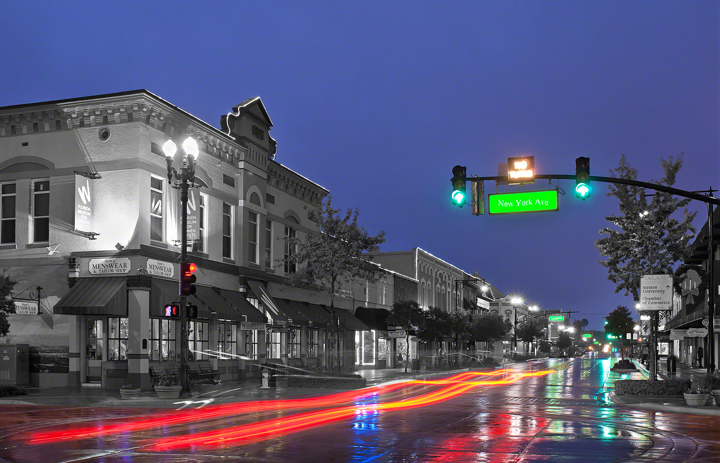 A Landscape Fine Art Photograph by Mike Ring of Downtown DeLand on a rainy morning.