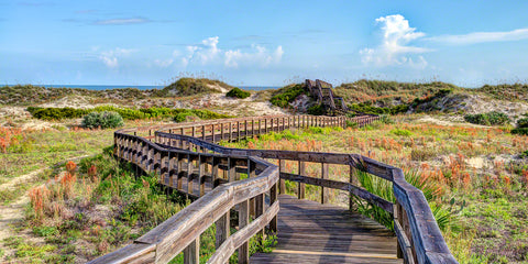 Early morning view of the boardwalk in Smyrna Dunes Park